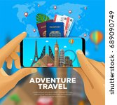 travel banner concept with... | Shutterstock .eps vector #689090749