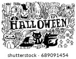 vector ghosts and monsters of... | Shutterstock .eps vector #689091454