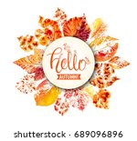 autumn season banner. greeting... | Shutterstock .eps vector #689096896