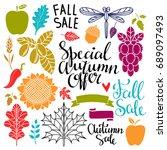 fall  autumn sale design... | Shutterstock . vector #689097493