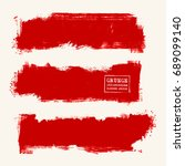 vector set of red brush strokes.... | Shutterstock .eps vector #689099140