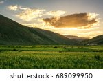 the highland barley fields in... | Shutterstock . vector #689099950