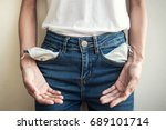 young woman showing her empty... | Shutterstock . vector #689101714