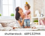 happy loving family. mother and ... | Shutterstock . vector #689132944