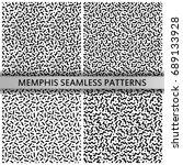 black and white memphis... | Shutterstock .eps vector #689133928
