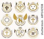 vector vintage heraldic coat of ... | Shutterstock .eps vector #689142538