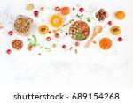 breakfast with muesli  fruits ... | Shutterstock . vector #689154268