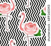 seamless pattern with  flamingo ... | Shutterstock .eps vector #689160343