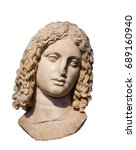 Small photo of Marble head of Alexander the Great isolated
