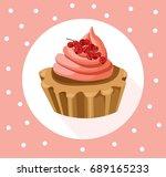 tartlets colorful desserts... | Shutterstock .eps vector #689165233