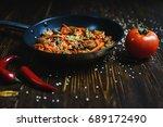 beautiful texture on wooden... | Shutterstock . vector #689172490