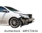 white car in an accident... | Shutterstock . vector #689172616