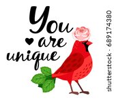 cardinal bird  with  rose and ... | Shutterstock .eps vector #689174380