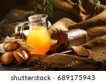 traditional russian cold rye... | Shutterstock . vector #689175943