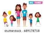 happy family in travel. cartoon ... | Shutterstock .eps vector #689178718