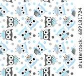 cute vector seamless pattern... | Shutterstock .eps vector #689181724