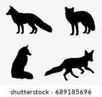 fox set of silhouettes | Shutterstock .eps vector #689185696