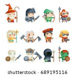 heroes villains minions fantasy ... | Shutterstock .eps vector #689195116