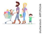 family shopping banner. hipster ... | Shutterstock . vector #689196166