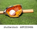 baseball ball  glove and bat on ... | Shutterstock . vector #689203486