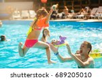 happy active family young... | Shutterstock . vector #689205010
