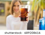 young woman in a restaurant    Shutterstock . vector #689208616