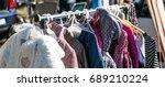 rack of second hand winter baby ... | Shutterstock . vector #689210224