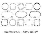 set of hand drawn fancy frames. ... | Shutterstock .eps vector #689213059