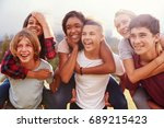 teenage school friends having... | Shutterstock . vector #689215423