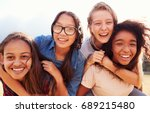 Four Teenage Girls Having Fun - Fine Art prints