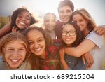teenage school friends smiling... | Shutterstock . vector #689215504