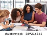 teacher studying school books... | Shutterstock . vector #689216866
