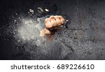 hand breaking through the wall. ... | Shutterstock . vector #689226610