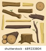 tree wood trunk vector set... | Shutterstock .eps vector #689233804
