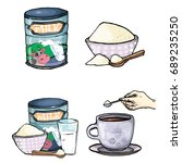 vector set of cartoon... | Shutterstock .eps vector #689235250