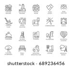 vector set of 20 linear icons... | Shutterstock .eps vector #689236456
