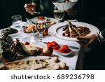 dinner with friends of family... | Shutterstock . vector #689236798