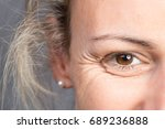 smile of young blonde woman... | Shutterstock . vector #689236888