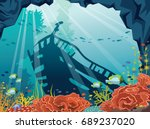 underwater cave with coral reef ... | Shutterstock .eps vector #689237020