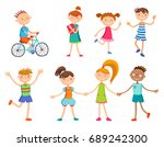 collection of happy children in ... | Shutterstock .eps vector #689242300