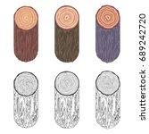 tree rings saw cut tree trunk... | Shutterstock .eps vector #689242720