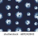indigo blue tie dye shibori... | Shutterstock .eps vector #689242843