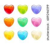 cute glossy colorful hearts set....