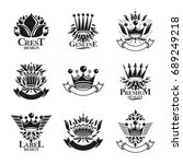 imperial crowns emblems set.... | Shutterstock .eps vector #689249218