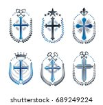 christian crosses emblems set.... | Shutterstock .eps vector #689249224