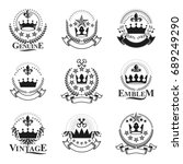 majestic crowns emblems set.... | Shutterstock .eps vector #689249290
