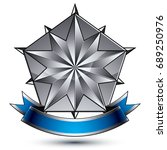 heraldic 3d glossy blue and... | Shutterstock .eps vector #689250976