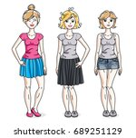 happy young adult girls female... | Shutterstock .eps vector #689251129
