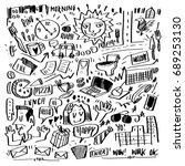 vector doodle design my life in ... | Shutterstock .eps vector #689253130