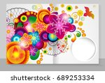 template cover of a copybook... | Shutterstock . vector #689253334